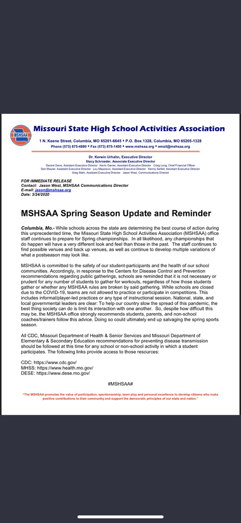 MSHSAA Update on Spring Sports