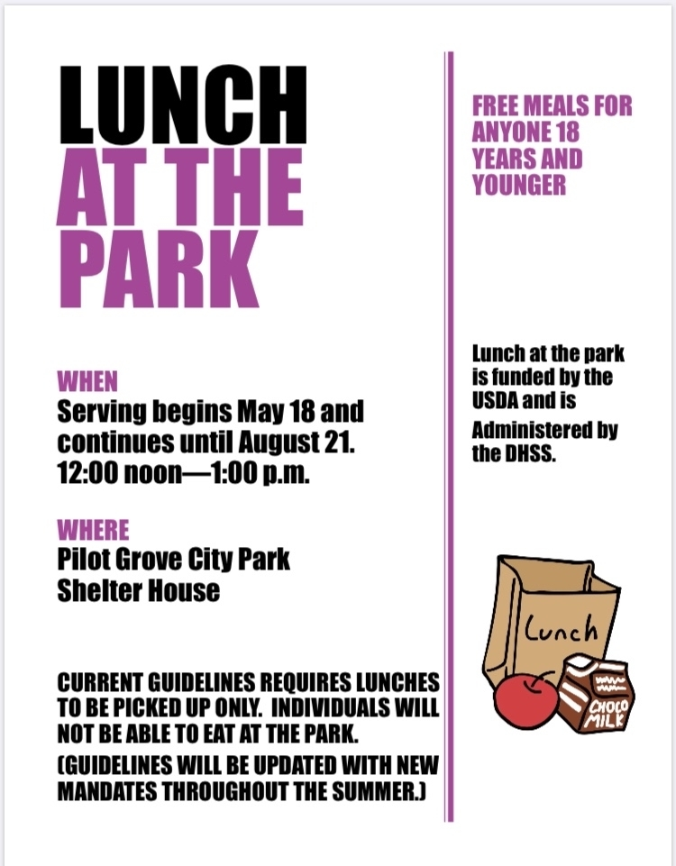 Summer lunch at the park will begin May 18th at noon!!