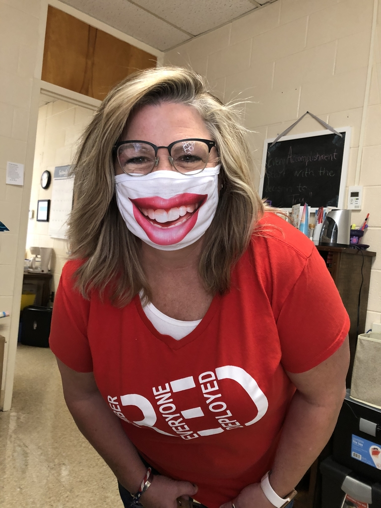 Ms. Shelley and her smiling mask!